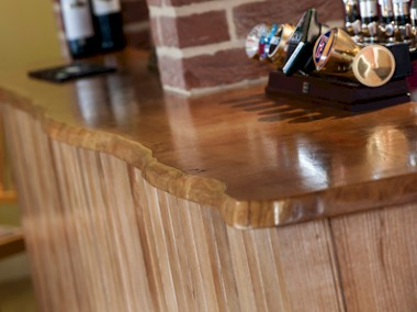 Bevelled edge Bar top.